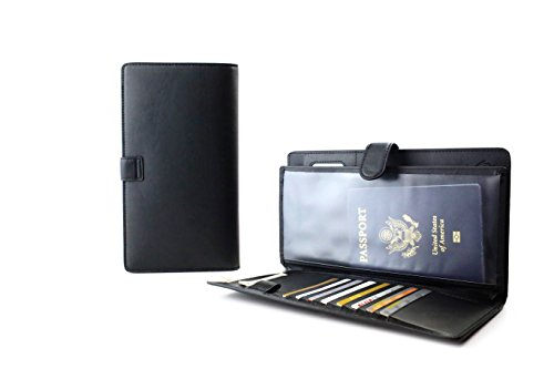 Passport Holder Travel Wallet and RFID Blocking Cover Case for Boarding Pass ID (Matte Black) (Anti Ticket compare prices)