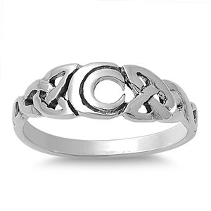 Italian Sterling Silver Celtic Infinity Trinity Knot & Crescent MOON Linear Ring