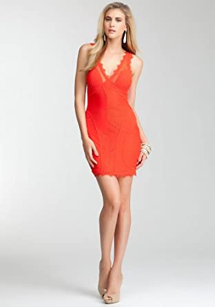 BB V-neck Lace Dress Spcl Events/eve Dresses Fiery Red-s