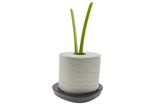 Sprout - Free Standing Toilet Paper Holder - Toilet Tissue Storage Stand- Green & Grey Colors - By Comfify