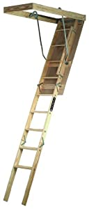 Louisville Ladder S224P 250-Pound Duty Rating Wooden Attic Ladder Fits 7-Foot to 8-Foot 9-Inch Ceiling Height, 22.5-by-54-Inch Rough Opening