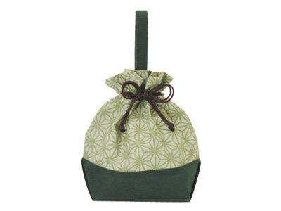 手提巾着麻の葉 緑 (10枚)