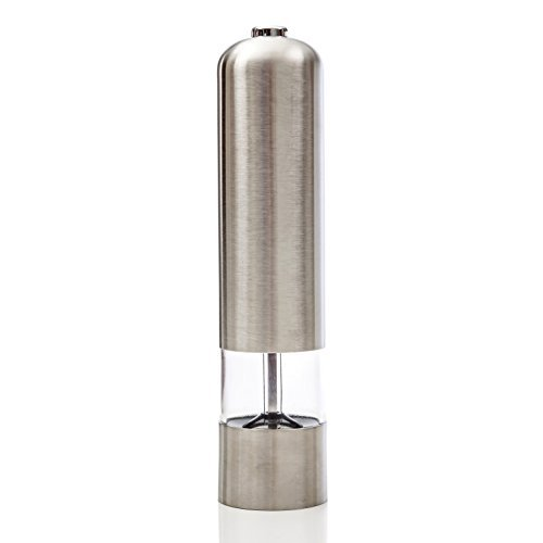 Electric Pepper Grinder - Salt & Pepper Mill Battery Powered - Stainless Steel Design with LED Light