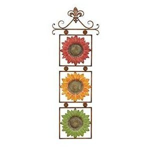 Sunflowers On Scroll Metal Wall Art Decor Sculpture