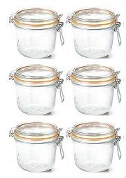 6 Jars - Le Parfait Terrine Jar - 500mL - Canning, Storage Jar From France