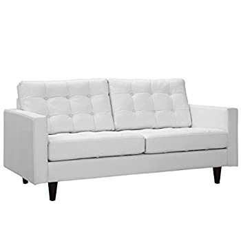 Modway Empress Mid-Century Modern Upholstered Leather Loveseat In White