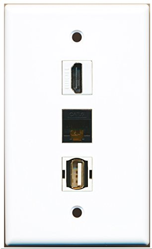 Riteav - 1 Port Hdmi And 1 Port Usb A-A And 1 Port Cat6 Ethernet Black Wall Plate