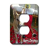 Sandy Mertens Christmas Dog Designs - Christmas German Shepherd - Light Switch Covers - 2 plug outlet cover ~ 3dRose
