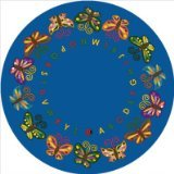 Joy Carpets Kid Essentials Early Childhood Round Butterfly Delight Rug, Multicolored, 7'7""