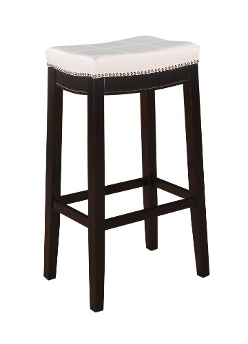 Linon Claridge Patches Bar Stool 30 Inch White Furniture
