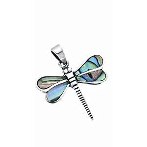 ABALONE SHELL AND SILVER DRAGONFLY PENDANT
