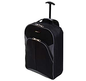 22 Borderline Black And Grey 2 Wheeled Backpack Super Lightweight Hand Luggage Holdall Onboard Cabin Bag On Wheels from Borderline
