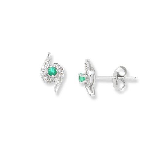 Diamond Earrings, 9ct White Gold, Diamond and Created Emerald Studs, 0.06 carat Diamond Weight, by Miore, UNI006EW