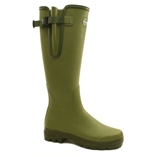 Le Chameau Vierzon Lady 2 Unisex Buckle Rubber Wellington Boots Green - 39