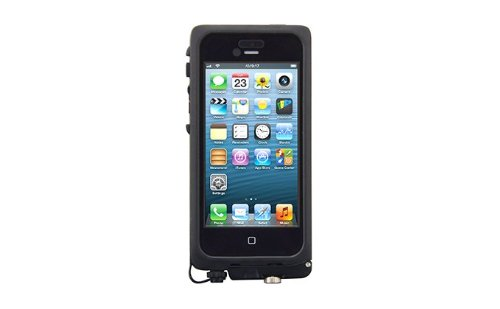 The Joy Factory Cwd101 Axiton Pro Ultra Rugged Waterproof Case For Iphone 5 With Built-In Accessories Port - 1 Pack - Retail Packaging - Black/Gray