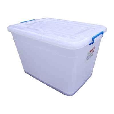2 x 110L Large Plastic Storage Boxes Wheels & Clip Lids
