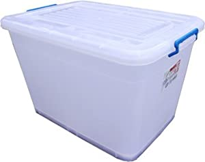 8 x 110L Large Plastic Storage Boxes Wheels & Clip Lids       Customer review and more information