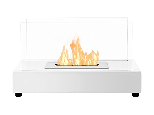 Ignis Portable Tabletop Ventless Bio Ethanol Fireplace - Tower (White)