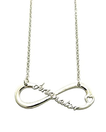 Silver Tone Infinity Charm Celebrity Fan Necklace XC449R: Clothing