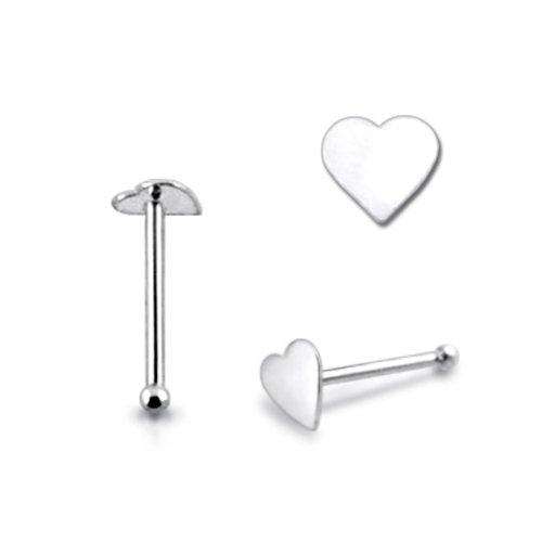 Piercingworld Plain Flat Heart 22Gx1/4 (0.6x6mm) 925 Sterling Silver Ball End Nose Pin Piercing Jewelry