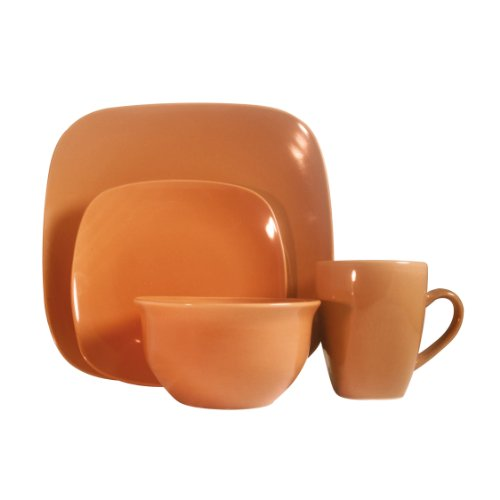 Details for Premier Housewares 16-Piece Square Orange Stoneware Dinner Set from Premier Housewares