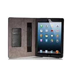 LUVVITT PORTFOLIO Case Cover for the new iPad AIR 5th Generation with Hand strap / Stand / Card Holder - Black