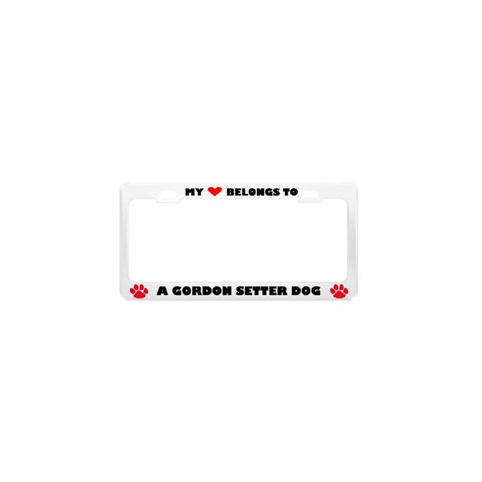 A Gordon Setter Dog Pet White Metal License Plate Frame
