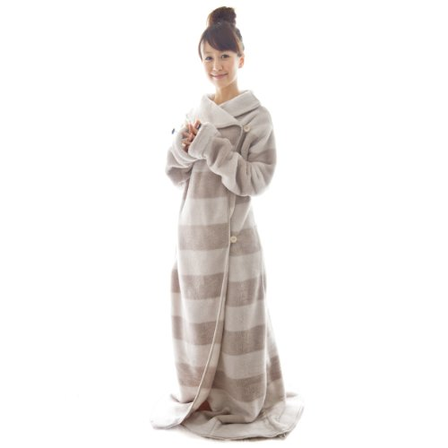 【Amazon.co.jp 限定】 大人気のマイクロファイバー製 暖かい! 着る毛布 洗える袖付ブランケット fu-mo PREMIUM (フーモ プレミアム) ボーダー/アイボリー FU-MO-0011-IV