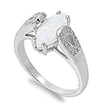 Oval White Opal /& Tanzanite Heart .925 Sterling Silver Ring Sizes 4-10