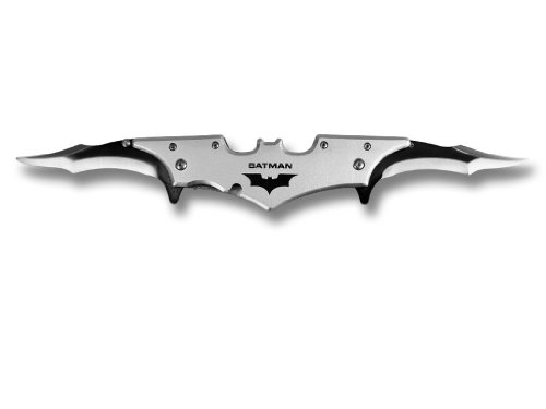"""11"""" Double Blade Pocket Knife Batman Inspired Knife - Choice Of 6 Colors (Silver)"""