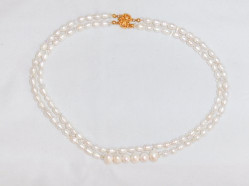 Exotic 2 Strand Freshwater White Pearls & Swarovskis Necklace