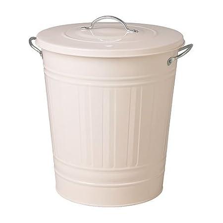レトロ ふた付きゴミ箱 収納 分別ゴミ箱 資源ごみ ブリキ風 バケツ型ペール ホワイト 白 40L
