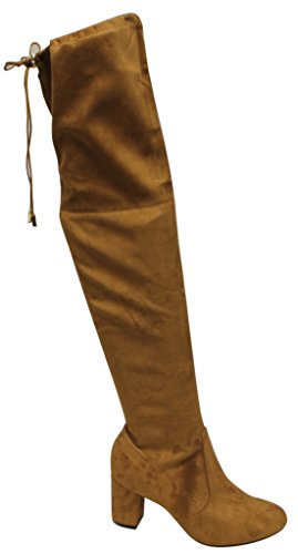 Natural Breeze Bonita-02 Women's block heel thigh high leg-lengthening soft shaft tie back suede boots Camel 9 (Natural Breeze compare prices)