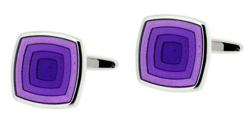 Code Red Base Metal Rhodium Plated Cufflinks with Transparent Purple Enamel
