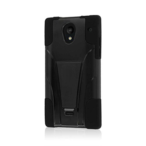 Sharp Aquos Crystal Case (306SH), MPERO IMPACT X Series Dual Layered Tough Durable Shock Absorbing Silicone Polycarbonate Hybrid Kickstand Case for Aquos Crystal [Perfect Fit & Precise Port Cut Outs] - Black (Sharp Crystal Phone Case compare prices)