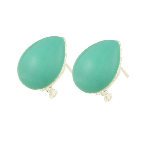 Rosallini Ladies Turquoise Plastic Water Drop Earbob Metal Clip Earrings Earwear Pair