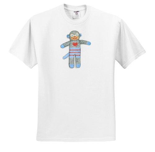 Laura J Holman Art Sock Monkey - Sock Monkey toy monkey kid s toy cuddly cute heart illustration blue child - T-Shirts