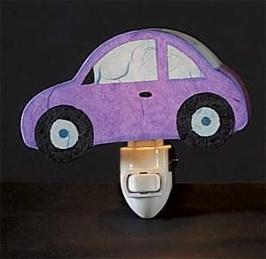 Children's Quality Designed Purple Car Bedroom Night Light