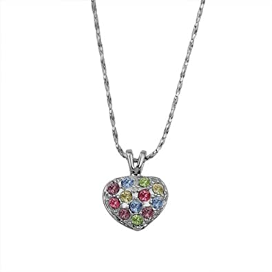 Women Fashion Jewelry Alloy Gold-Plated Rhinestone Crystal White Gold Color Little Heart Pendant Necklaces