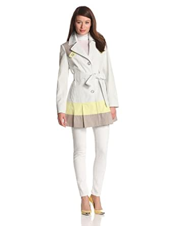 Via Spiga Women's Single Breasted Trench Coat With Color Blocking Detail, Dove, X-Small