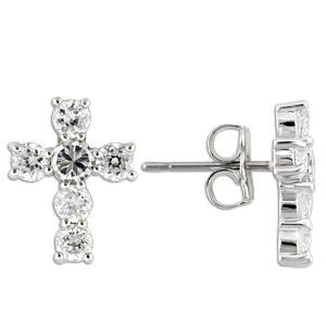 Edwin Earls Jewelry Mens Sterling Silver Cz Cross Stud Earrings Unisex