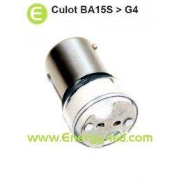 Douille/culot BA15S vers G4 pour ampoule basse tension 12V