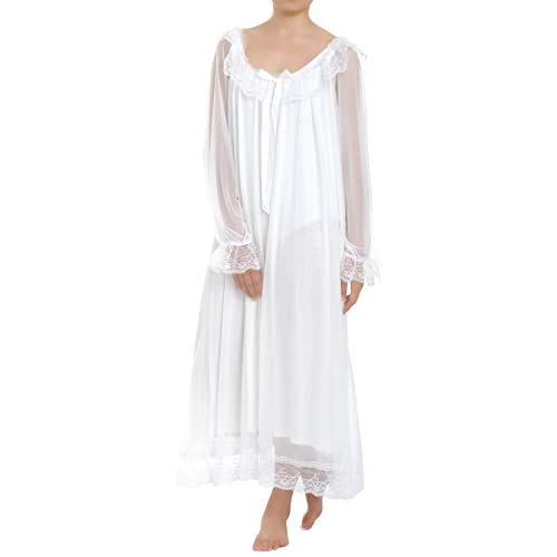 Latuza Women's Long Sheer Vintage Victorian Nightgown with Sleeves