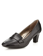 Footglove™ Leather Wide Fit Mid Heel Loafers