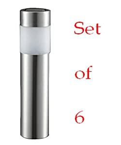 Vonsolar VSE03045S Stainless Steel Cylinder Torch Solar Lawn Light x6