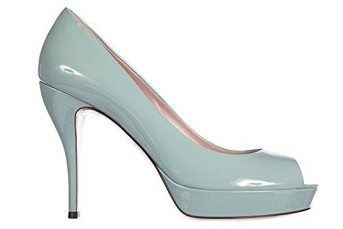 Gucci decolletes decoltè scarpe donna punta aperta tacco pelle vernice blu EU 39.5 309878 BNC 001610