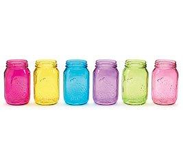 Quart Size Assorted Pastel Colored Mason Jars - Set of 6 (Cute Mason Jars compare prices)