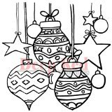 Deep Red Stamps Christmas Stars and Balls Rubber Stamp