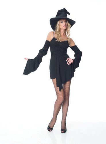 2Pc Sequin Lace Trim Witch Dress W/ Hat Set