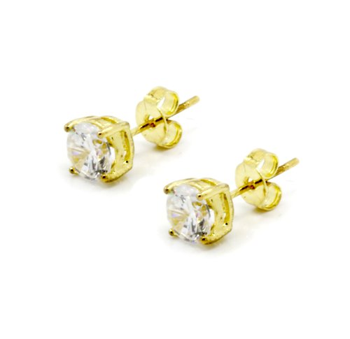 Mens Gold Plated Round Cubic Cz Basket Set Princess Cut Clear Stud Earrings 3Mm To 10Mm (4 Millimeters)